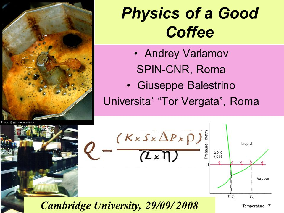 Physics of a Good Coffee Andrey Varlamov SPIN-CNR, Roma Giuseppe Balestrino Universita' Tor Vergata , Roma Cambridge University, 29/09/ 2008