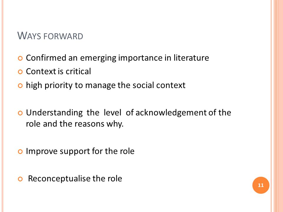 W AYS FORWARD Confirmed an emerging importance in literature Context is critical high priority to manage the social context Understanding the level of acknowledgement of the role and the reasons why.