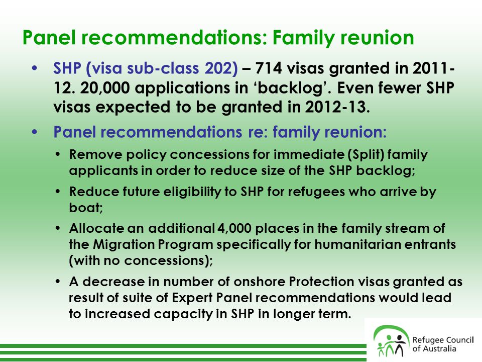 Panel recommendations: Family reunion SHP (visa sub-class 202) – 714 visas granted in 2011- 12.