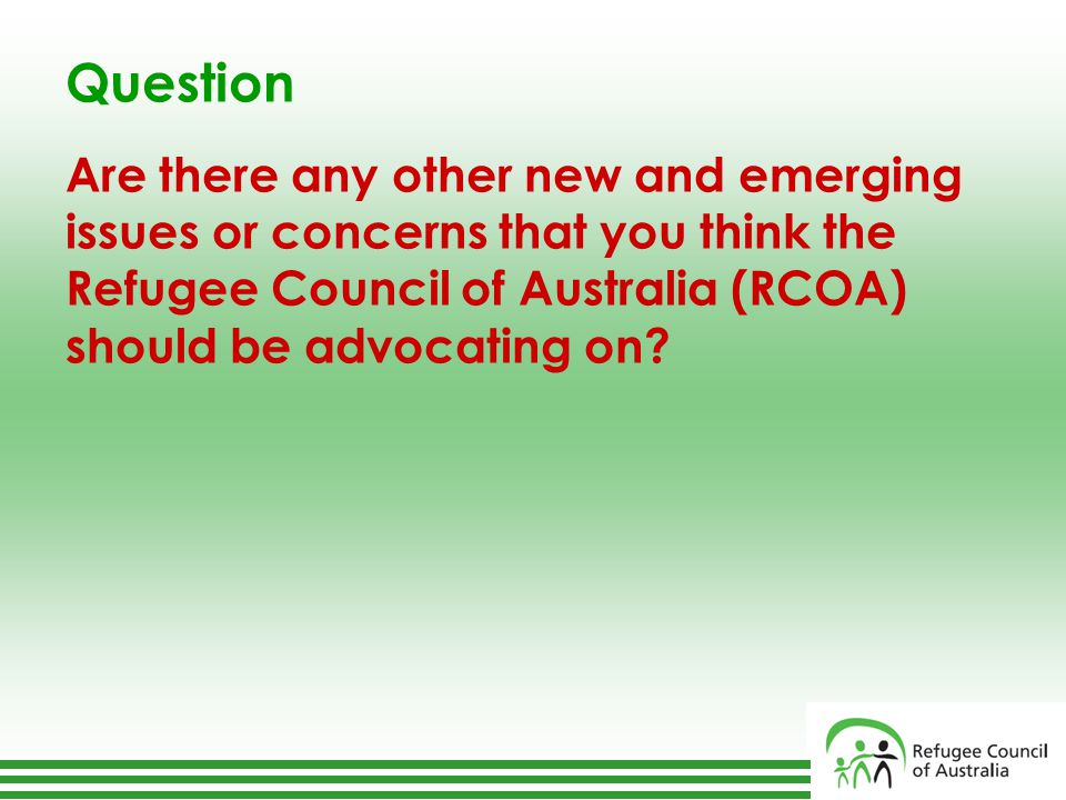Question Are there any other new and emerging issues or concerns that you think the Refugee Council of Australia (RCOA) should be advocating on