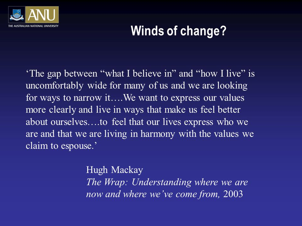"Winds of change? 'The gap between ""what I believe in"" and ""how I live"" is uncomfortably wide for many of us and we are looking for ways to narrow it…."