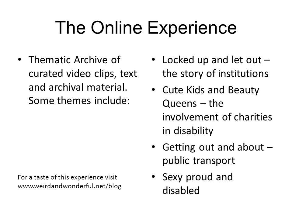 The online documentary will explore these themes in a creative and engaging way.