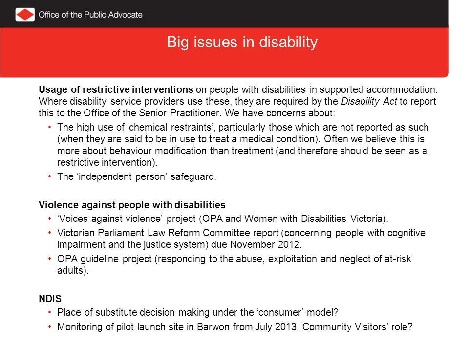 Big issues in disability Usage of restrictive interventions on people with disabilities in supported accommodation.