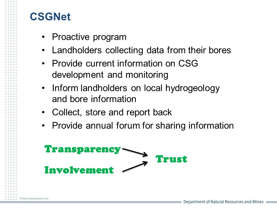 CSGNet Proactive program Landholders collecting data from their bores Provide current information on CSG development and monitoring Inform landholders