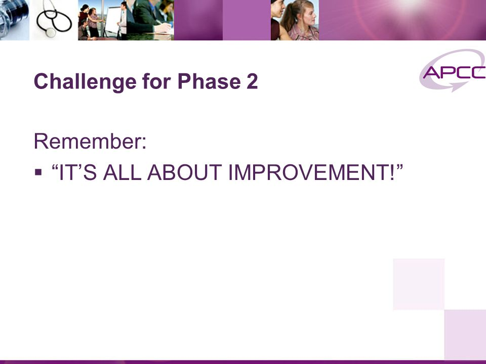 Remember:  IT'S ALL ABOUT IMPROVEMENT! Challenge for Phase 2