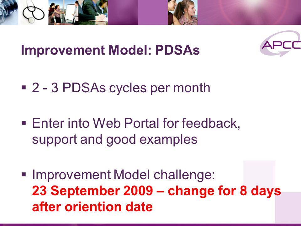 Improvement Model: PDSAs  2 - 3 PDSAs cycles per month  Enter into Web Portal for feedback, support and good examples  Improvement Model challenge: 23 September 2009 – change for 8 days after oriention date