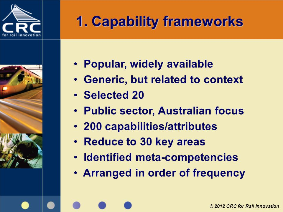 1. Capability frameworks Popular, widely available Generic, but related to context Selected 20 Public sector, Australian focus 200 capabilities/attrib