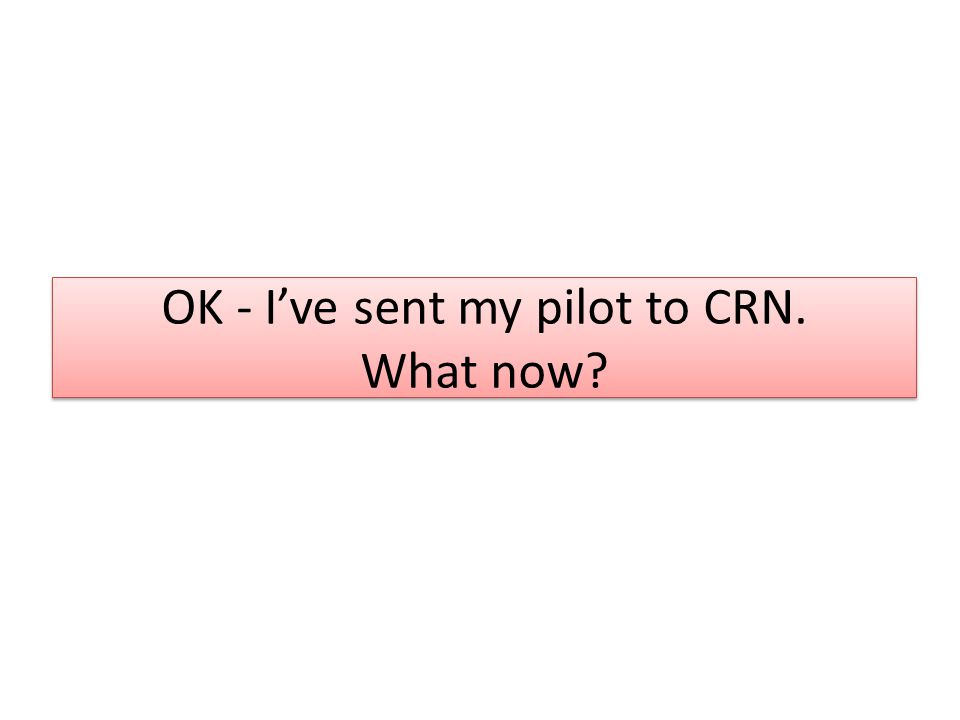 OK - I've sent my pilot to CRN. What now?