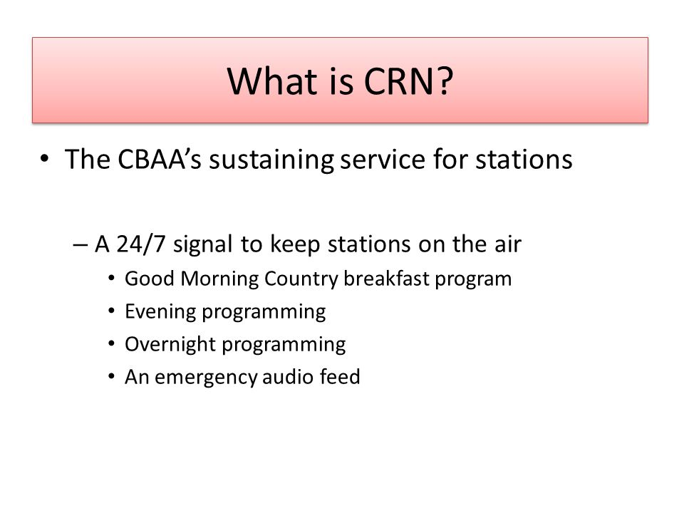 What is CRN.