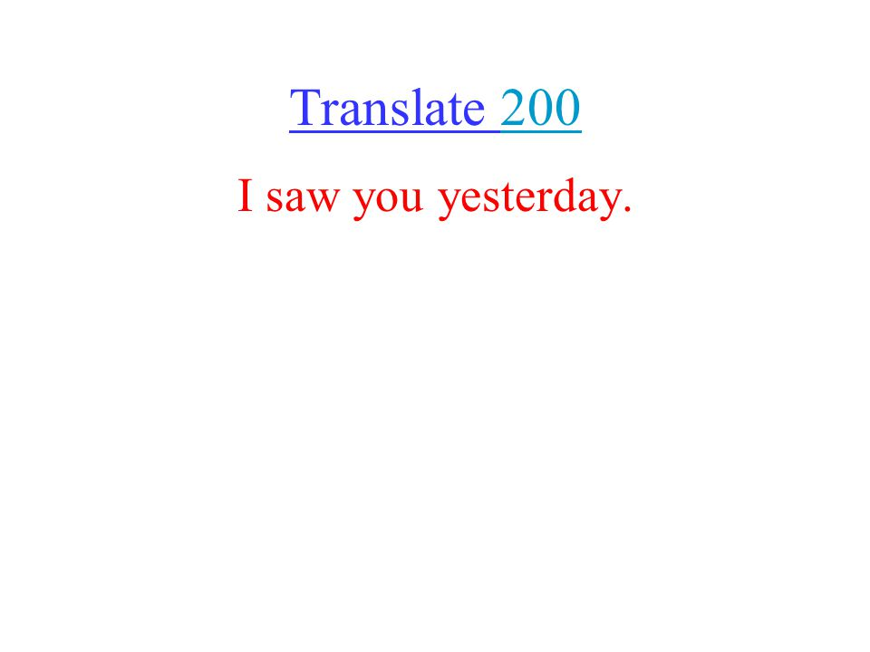 Translate I saw you yesterday.