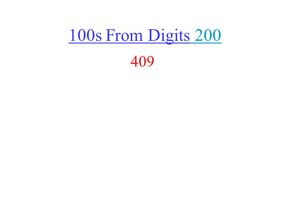 100s From Digits 200 200 409