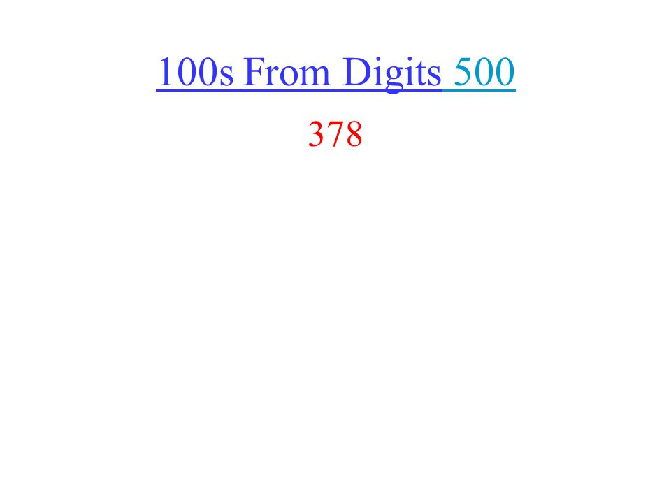 100s From Digits 500 500 378
