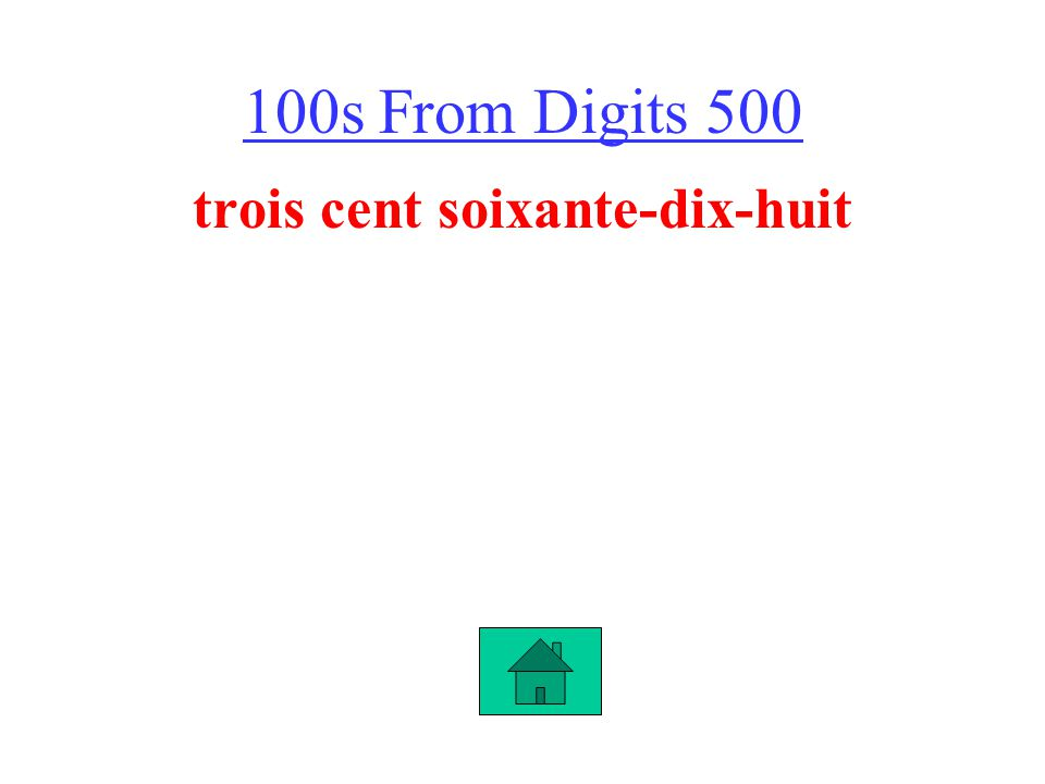 100s From Digits 500 trois cent soixante-dix-huit