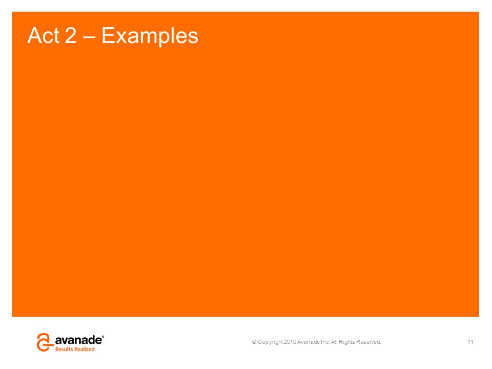 © Copyright 2010 Avanade Inc. All Rights Reserved. Act 2 – Examples 11