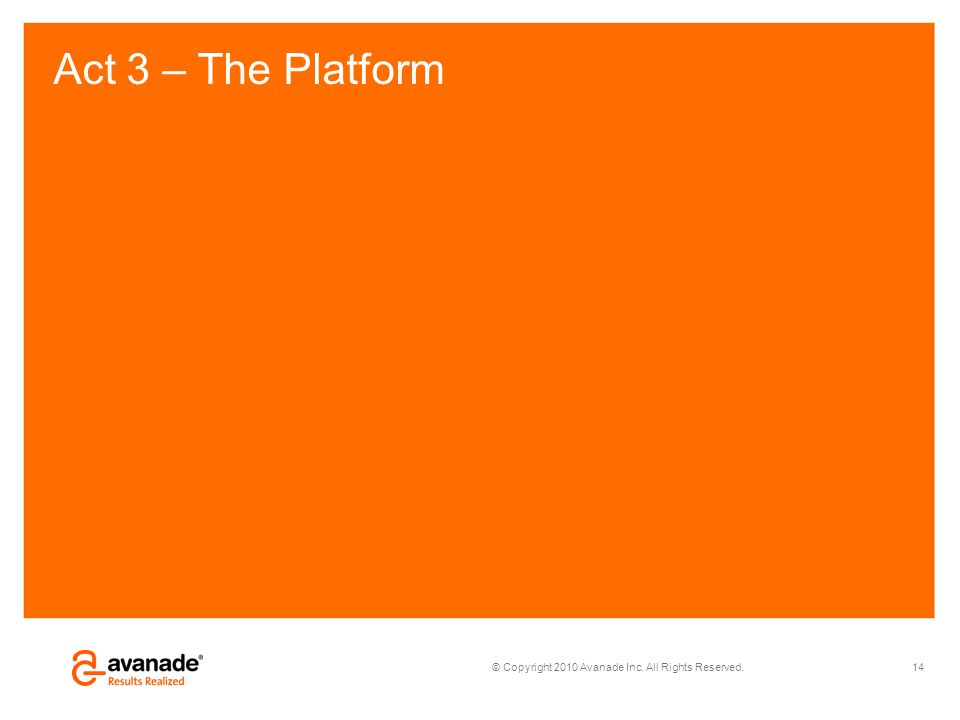 © Copyright 2010 Avanade Inc. All Rights Reserved. Act 3 – The Platform 14