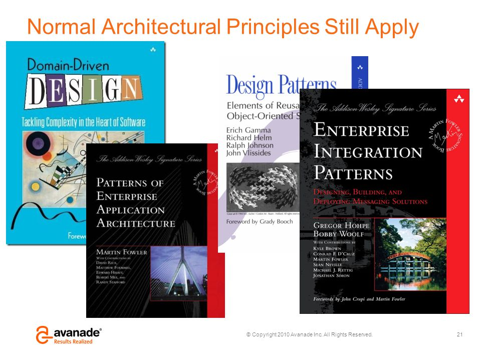 © Copyright 2010 Avanade Inc. All Rights Reserved. Normal Architectural Principles Still Apply 21