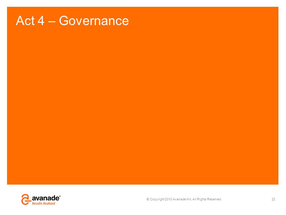 © Copyright 2010 Avanade Inc. All Rights Reserved. Act 4 – Governance 22