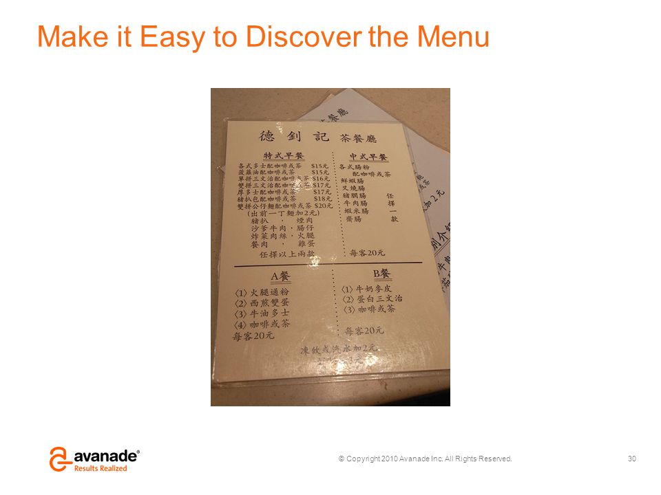 © Copyright 2010 Avanade Inc. All Rights Reserved. Make it Easy to Discover the Menu 30