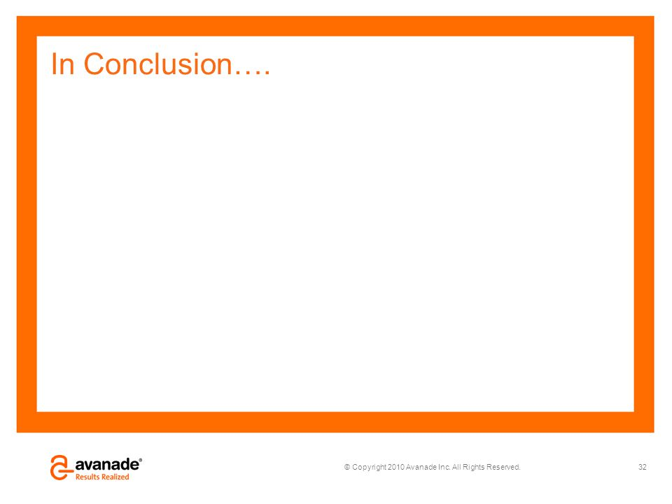 © Copyright 2010 Avanade Inc. All Rights Reserved. In Conclusion…. 32