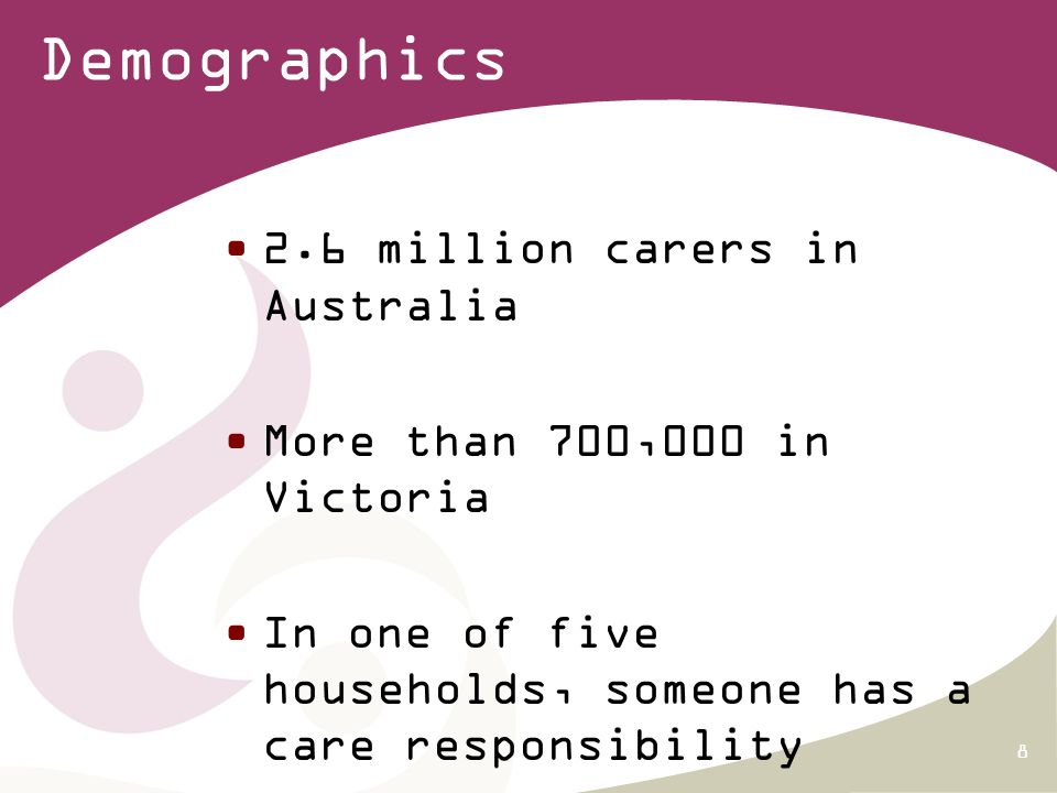 8 Demographics 2.6 million carers in Australia More than 700,000 in Victoria In one of five households, someone has a care responsibility