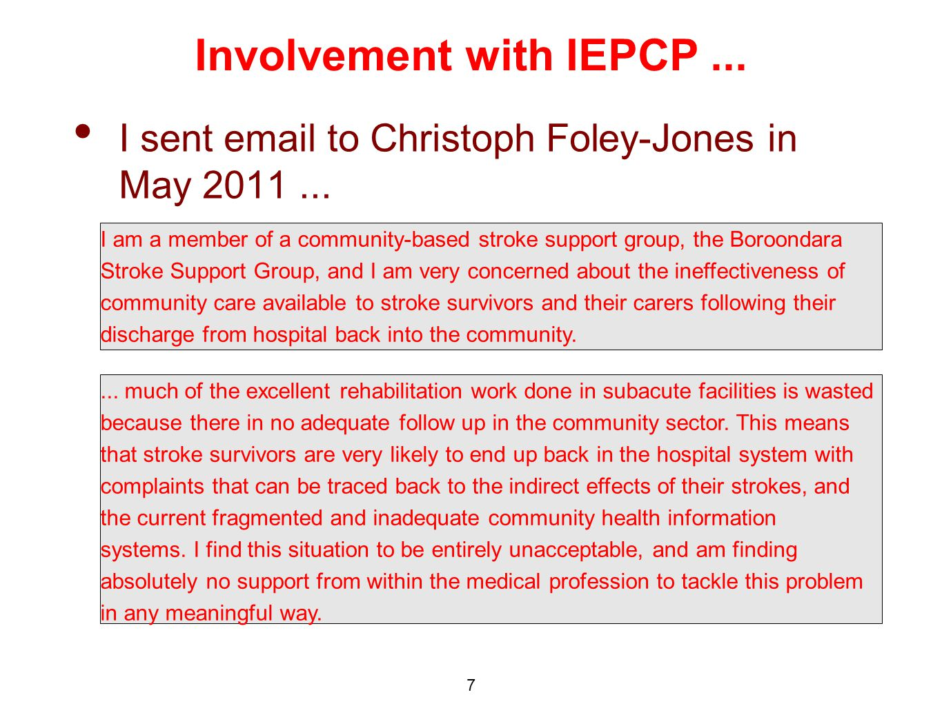 Involvement with IEPCP... I sent  to Christoph Foley-Jones in May