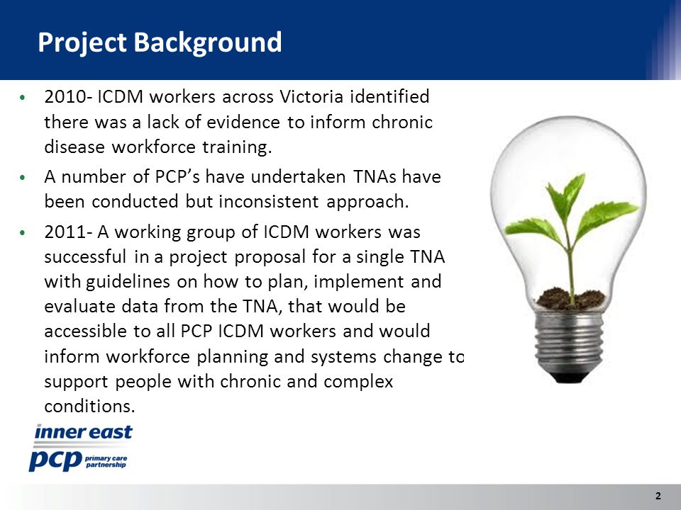 Project Background 2010- ICDM workers across Victoria identified there was a lack of evidence to inform chronic disease workforce training.