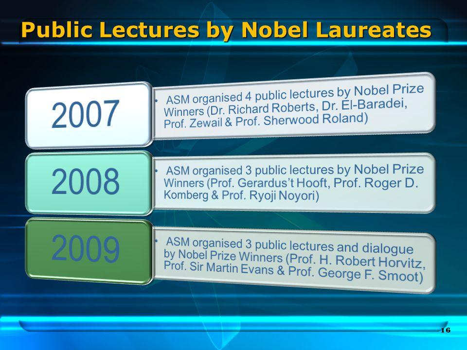Public Lectures by Nobel Laureates 16