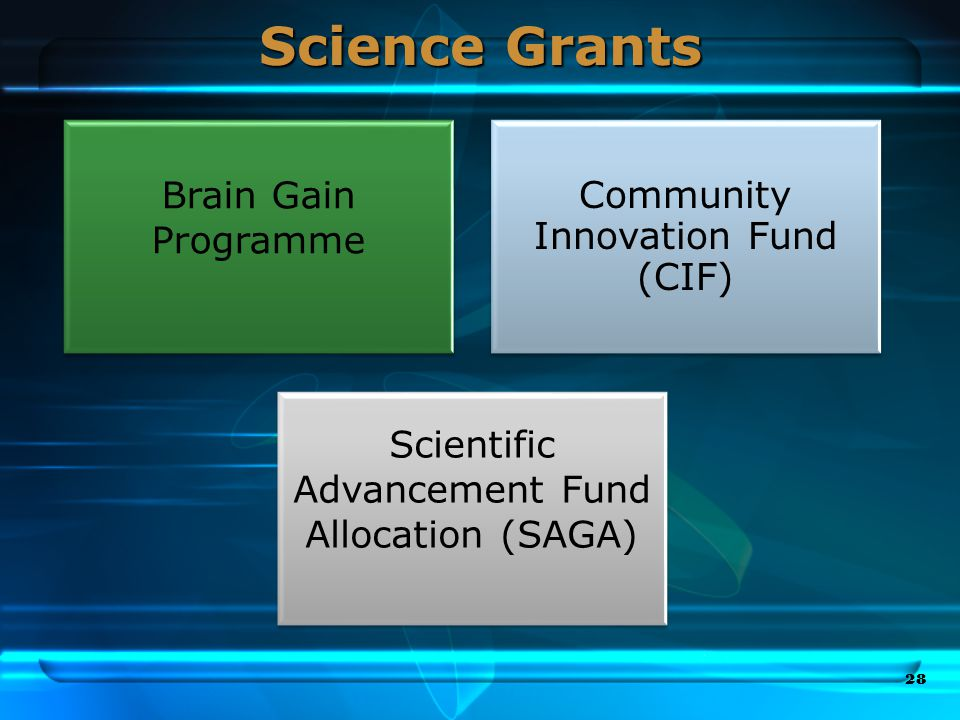 Science Grants 28 Brain Gain Programme Community Innovation Fund (CIF) Scientific Advancement Fund Allocation (SAGA)