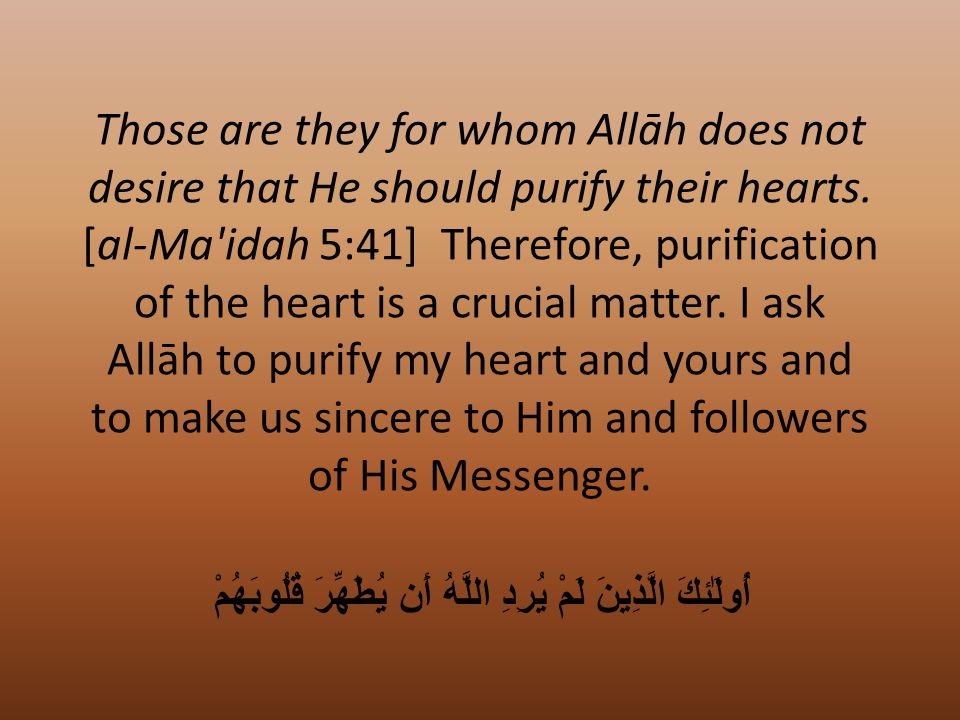 Those are they for whom Allāh does not desire that He should purify their hearts.
