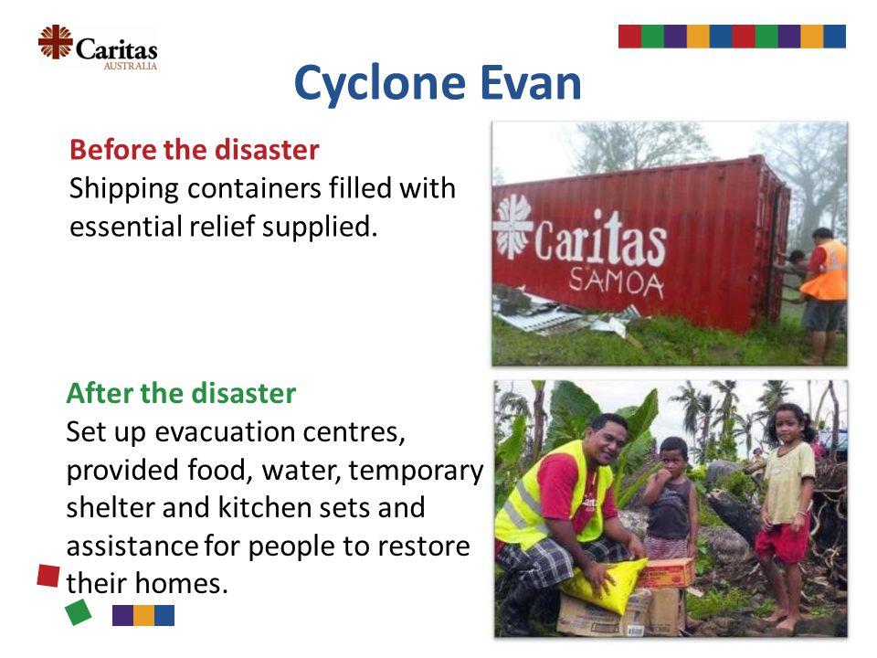 Cyclone Evan Before the disaster Shipping containers filled with essential relief supplied.