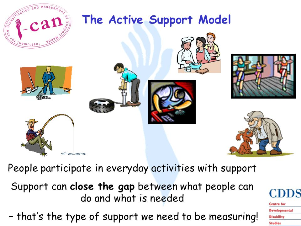 The Active Support Model People participate in everyday activities with support Support can close the gap between what people can do and what is needed – that's the type of support we need to be measuring!