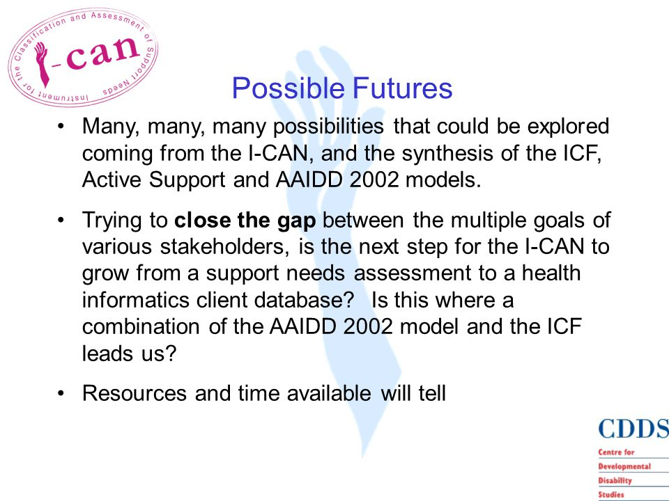Many, many, many possibilities that could be explored coming from the I-CAN, and the synthesis of the ICF, Active Support and AAIDD 2002 models.