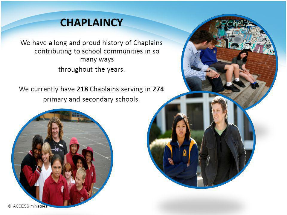 CHAPLAINCY We have a long and proud history of Chaplains contributing to school communities in so many ways throughout the years.
