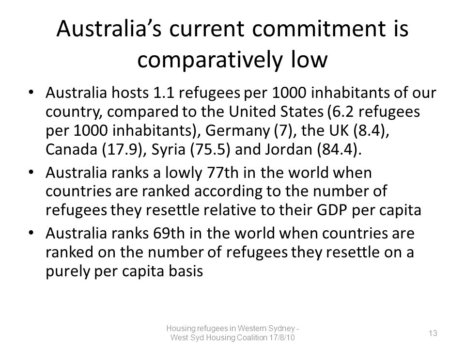Australia's current commitment is comparatively low Australia hosts 1.1 refugees per 1000 inhabitants of our country, compared to the United States (6.2 refugees per 1000 inhabitants), Germany (7), the UK (8.4), Canada (17.9), Syria (75.5) and Jordan (84.4).