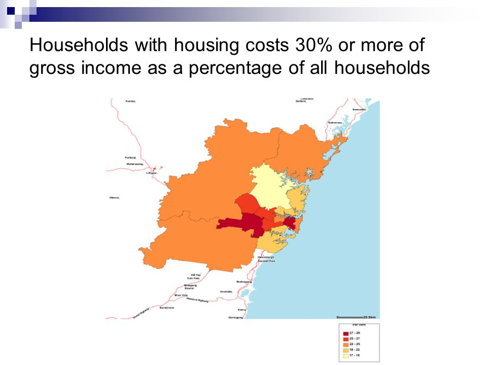 Households with housing costs 30% or more of gross income as a percentage of all households