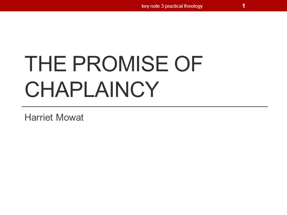 The promise of Chaplaincy Key Note 1: Inside chaplaincy: what do chaplains do.