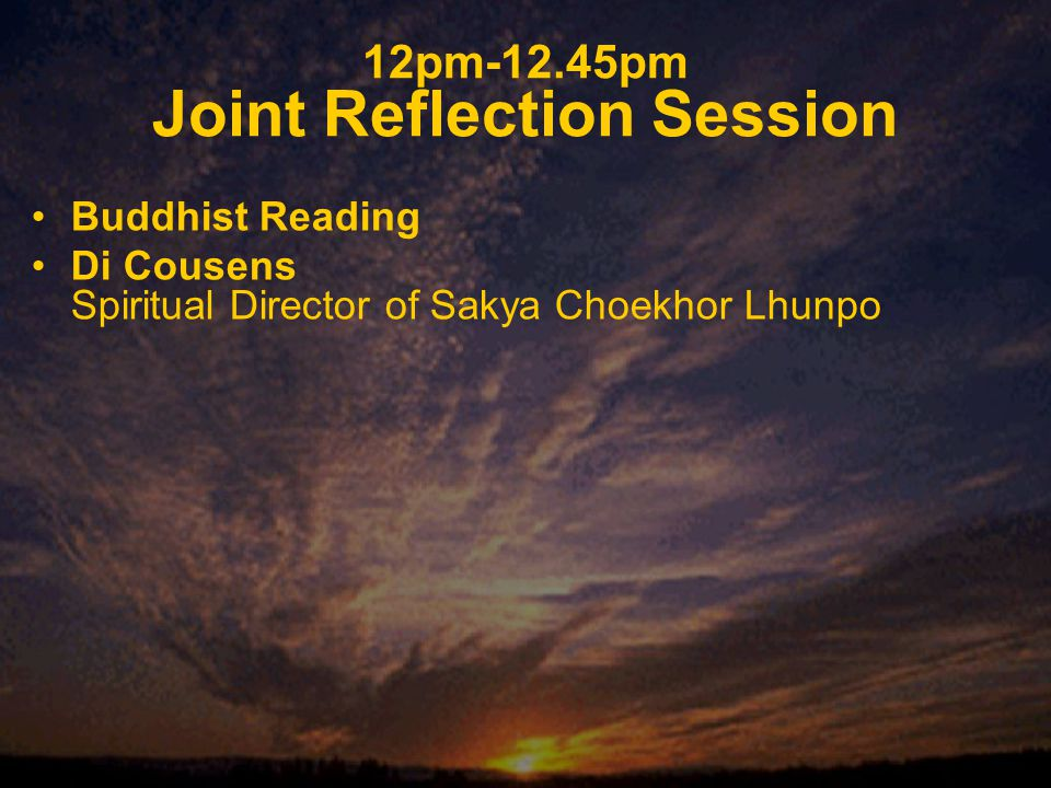 12pm-12.45pm Joint Reflection Session Buddhist Reading Di Cousens Spiritual Director of Sakya Choekhor Lhunpo