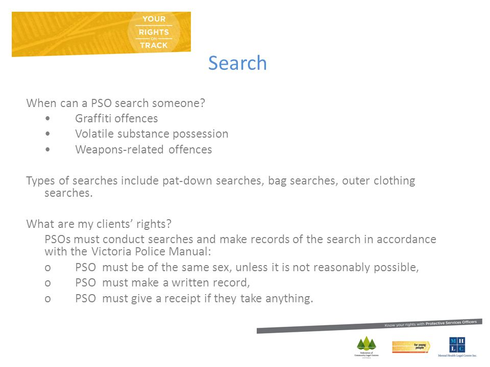 Search When can a PSO search someone.