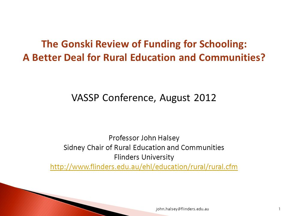 The Gonski Review of Funding for Schooling: A Better Deal for Rural Education and Communities.