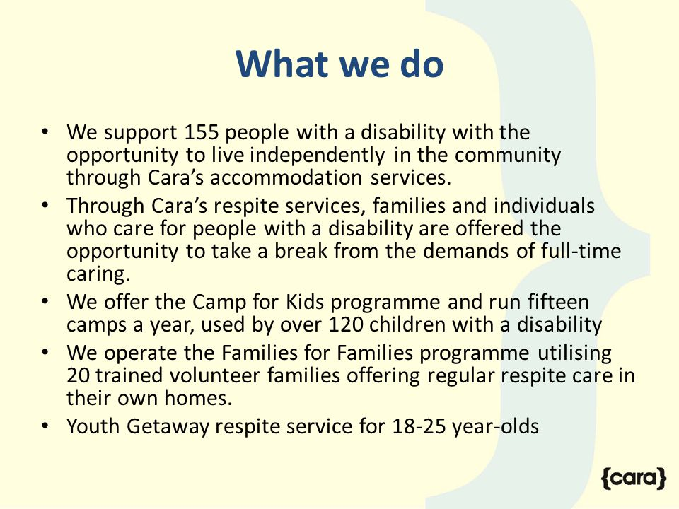 What we do We support 155 people with a disability with the opportunity to live independently in the community through Cara's accommodation services.