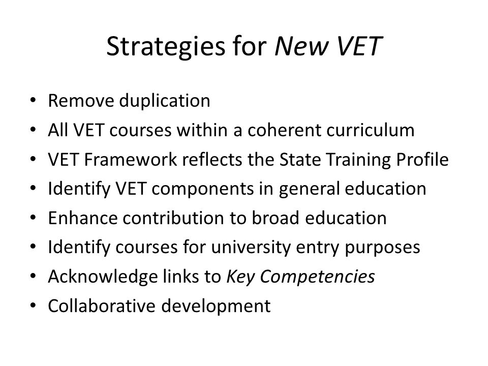 Conclusion The New HSC did spawn new VET but failed to deliver on some of the 'promises' and some of the principles as set out in Securing Their Future (1997)