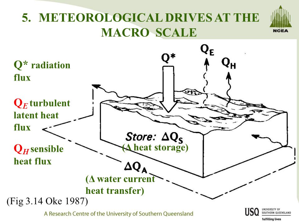 5.METEOROLOGICAL DRIVES AT THE MACRO SCALE Q* radiation flux Q E turbulent latent heat flux Q H sensible heat flux (Δ heat storage) (Δ water current heat transfer) (Fig 3.14 Oke 1987)