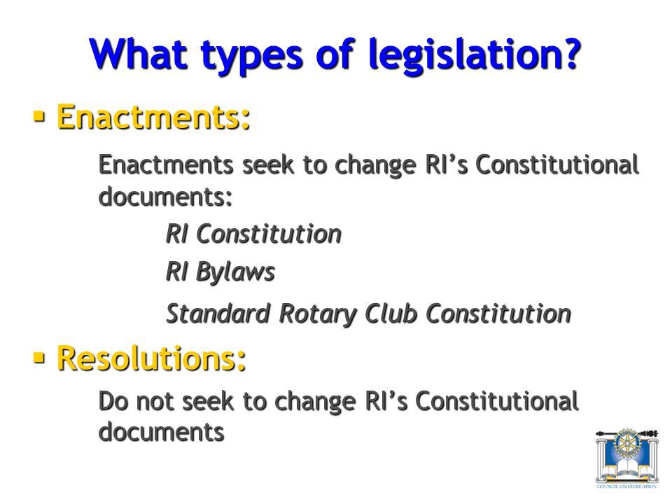 What types of legislation.