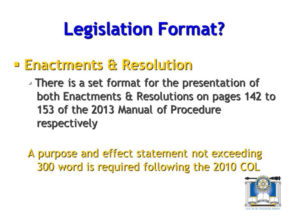 Legislation Format.