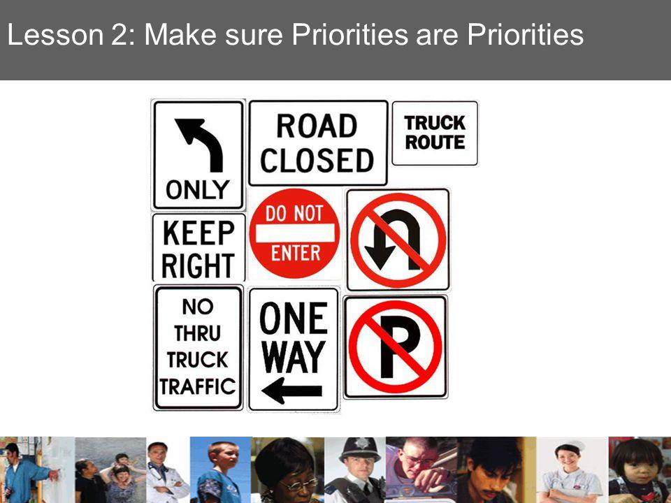 Lesson 2: Make sure Priorities are Priorities