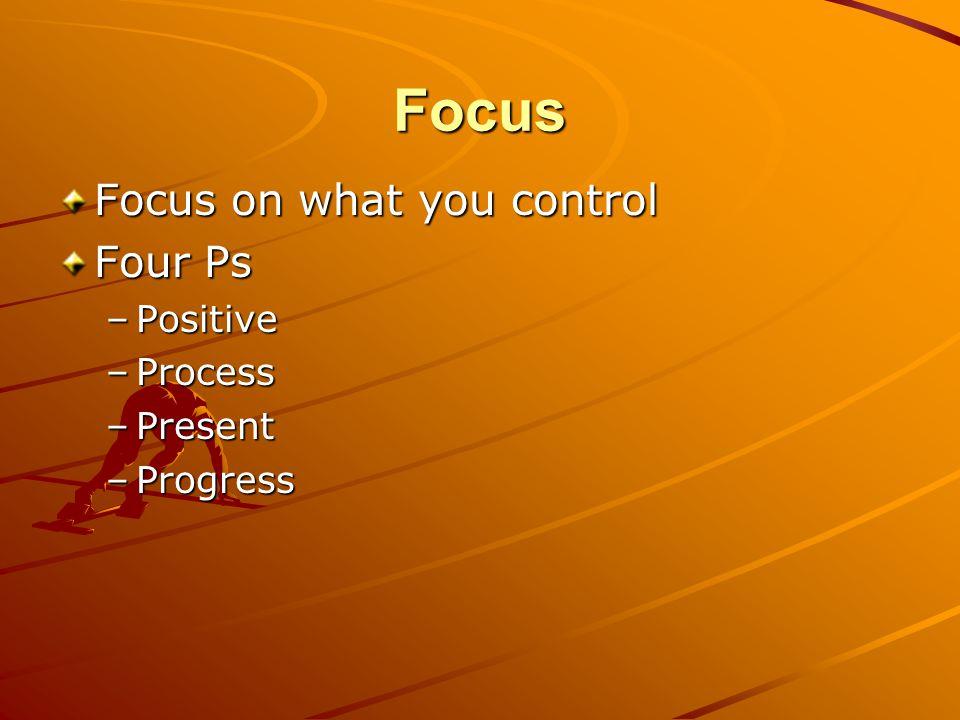 Focus Focus on what you control Four Ps –Positive –Process –Present –Progress