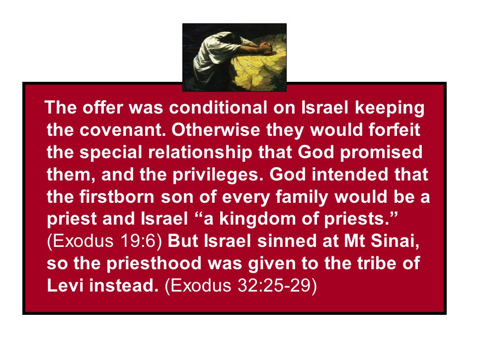 _______________________ _________________ The offer was conditional on Israel keeping the covenant. Otherwise they would forfeit the special relations