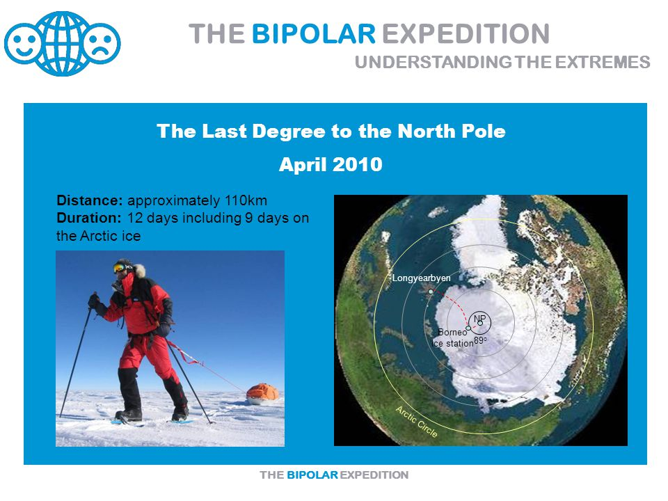 THE BIPOLAR EXPEDITION Arctic Circle Longyearbyen Borneo Ice station 89 o NP Distance: approximately 110km Duration: 12 days including 9 days on the Arctic ice THE BIPOLAR EXPEDITION UNDERSTANDING THE EXTREMES The Last Degree to the North Pole April 2010
