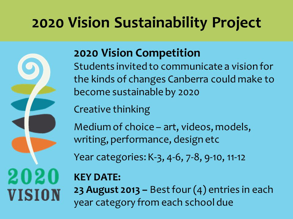2020 Vision Competition Students invited to communicate a vision for the kinds of changes Canberra could make to become sustainable by 2020 Creative thinking Medium of choice – art, videos, models, writing, performance, design etc Year categories: K-3, 4-6, 7-8, 9-10, KEY DATE: 23 August 2013 – Best four (4) entries in each year category from each school due 2020 Vision Sustainability Project