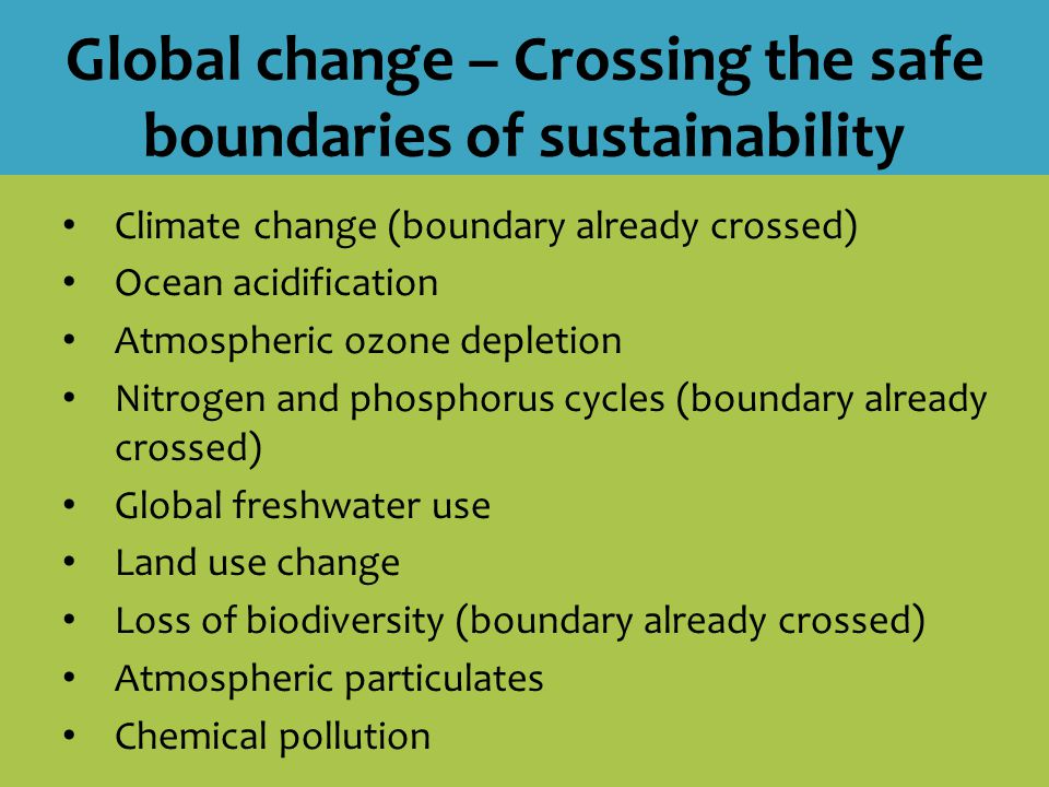 Global change – Crossing the safe boundaries of sustainability Climate change (boundary already crossed) Ocean acidification Atmospheric ozone depletion Nitrogen and phosphorus cycles (boundary already crossed) Global freshwater use Land use change Loss of biodiversity (boundary already crossed) Atmospheric particulates Chemical pollution